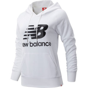 Sudadera New Balance Essentials, con capucha, en color blanco, para mujer.