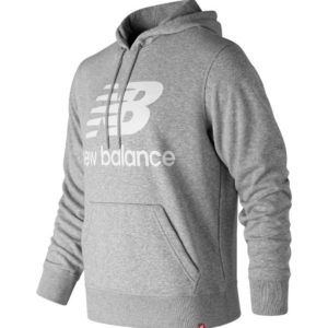 Sudadera New Balance Stacked Logo Essentials en color gris para hombre.