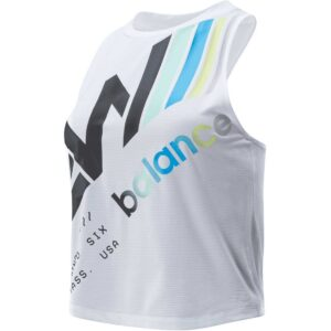 Camiseta de tirantes New Balance Printed Fast Flight para mujer en color blanco.