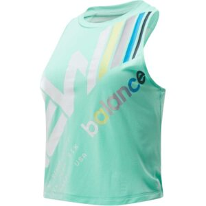 Camiseta de tirantas New Balance Printed Fast Flight para mujer en color verde.