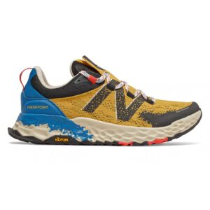 Zapatillas New Balance Fresh Foam Hierro V5 de trail running, para hombre, en color amarillo y azul.
