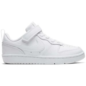 Zapatillas Nike Court Borough Low 2 blancas para niño con velcro.