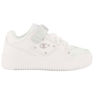 Zapatillas Champion Rebound Low para niño y niña, en color blanco, con velcro.