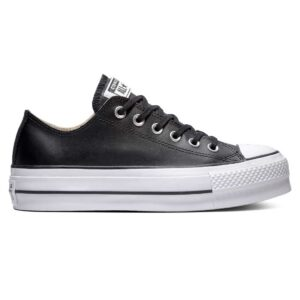 Zapatillas Converse Chuck Taylor All Star Platform Clean Leather en color negro, con plataforma, de piel, para mujer.