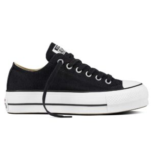 Zapatillas Converse Chuck Taylor All Star Canvas Platform Low con plataforma, en color negro, para mujer y niña.