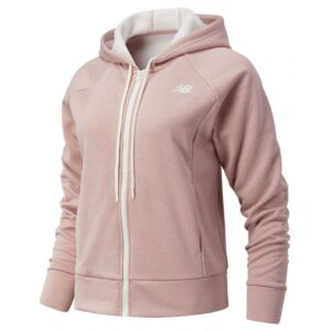 Chaqueta con capucha New Balance Relentless Tech Fleece para mujer, en color rosa.