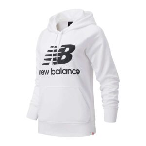 Sudadera New Balance Essentials Stacked Logo, en color blanco, con capucha, para mujer.