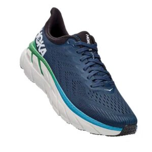 Zapatillas Hoka One One Clifton 7 en color azul y gris, de running, para hombre.