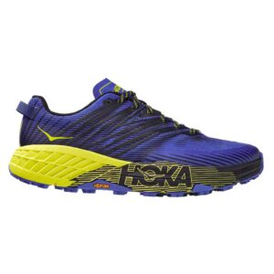 Zapatillas Hoka One One Speedgoat 4 de trail running, para hombre, en color negro y azul.