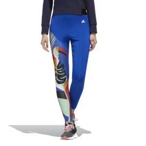 Mallas Adidas Women X FARM Rio FeelBrilliant para mujer, en color azul, con estampado.