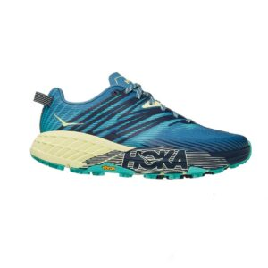 Zapatillas Hoka One One Speedgoat 4 para mujer, de trail running, en color azul y verde.
