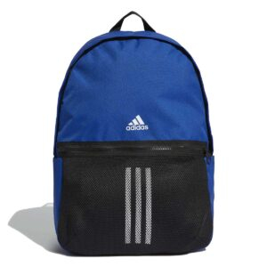Mochila Adidas Classic 3 Stripes en color azul royal y negro.