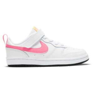 Zapatillas Nike Court Borough Low 2 para niña, en color blanco y rosa, con velcro, de estilo clásico.