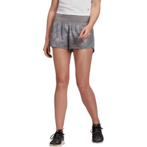 Pantalón corto shorts para mujer, Adidas Run It Washed Look, en color gris, de running.