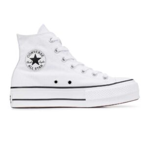 Zapatillas Converse Chuck Taylor All Star Platform High Top de plataforma, en color blanco, para mujer.