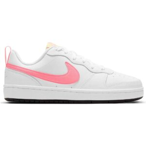 Zapatillas Nike Court Borough Low 2 para mujer y niña, en color blanco y rosa.