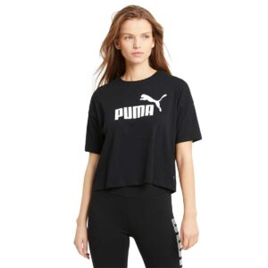 Camiseta Puma Essentials Logo para mujer, en color negro y blanco.