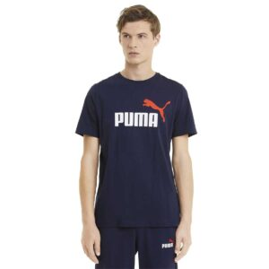 Camiseta Puma Essentials+ 2 Colour Logo para hombre, en color azul marino y rojo.