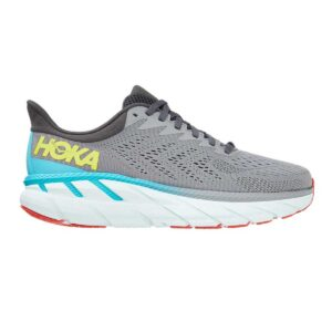 Zapatillas Hoka One One Clifton 7 de running, para hombre, en color gris y azul.
