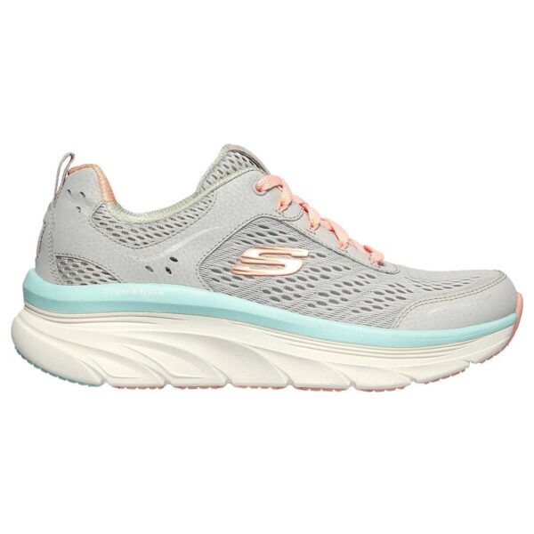 Zapatillas Skechers Relaxed Fit D´Lux Infinite Motion para mujer, en color gris y rosa.